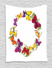 Butterfly and Floral Laurel Wreath Fairy Flowers Theme Art Wall Hanging Tapestry