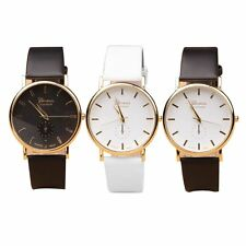Hot Fashion Lady women's  Leather Band Round Quartz Wrist Analog Watch