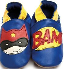 Inch Blue Luxury Leather Soft Sole Baby Shoes - Cobalt Blue Superhero