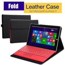 Premium PU Leather Folio Stand Cover Case for Microsoft Surface 3 10.8 inch