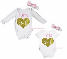 Birthday I AM 1 Year Old Heart White Baby Cotton Girls Bodysuit Jumpsuit NB-18M