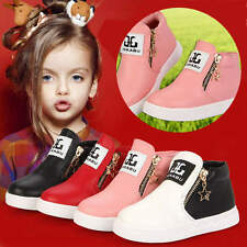 Fashion Kid Child Girl Boy Leather Casual Martin Boots Flats Shoes Zipper Stars