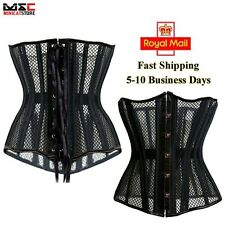 Black Steel Boned Breathable Mesh Waist Cincher Underbust Corset Bustier Shaper