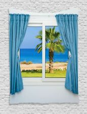 Window View of Sea with Palm Trees Island Image Art Decor Wall Hanging Tapestry