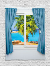 Image of Window View Tropical Beach Palm Ocean Art Picture Wall Hanging Tapestry
