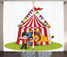 Cartoon Lion Jumping Ring with Circus Tent Show Image Art Curtain 2 Panels Set