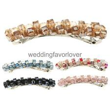 Womens Fashion Crystal Hair Rhinestone Leaf Hair Barrette Clip Hairpin Hair Clip