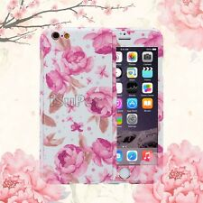 360 Protective Ultra thin Tempered Glass Floral Hard Case Cover For iPhone 5 6s