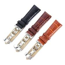 Fashion Band Strap Butterfly Deployant Clasp Buckle Leather WristWatch 16-24mm