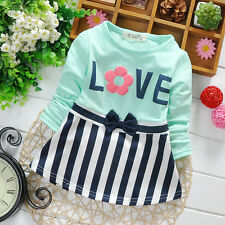 newborn baby cotton cute dress, infant striped patchwork fashion letters dress