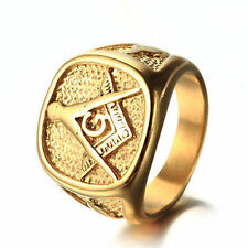 Masonic Ring Mens 18K Gold Plated 316L Stainless Steel Freemason Lodge Size 8-14