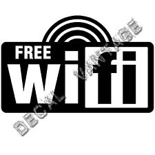 Wifi Free Radiowaves Spot Logo Square Vinyl Sticker Decal - Choose Size & Color