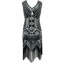 1920s Women's Tassel Flapper Dress Deco Great Gatsby Vintage Sequin Party Gown 6