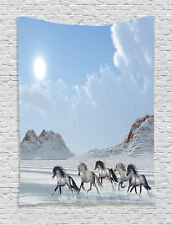 Herd of Wild Horses Gallop in Snow Winter Wilderness Image Wall Hanging Tapestry