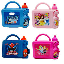 Kids Character Lunch Box with Bottle Thomas Spiderman Disney Princess Frozen