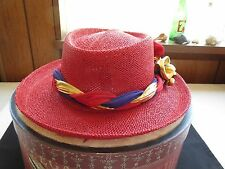 "Vintage Lady's RED HAT ""SOMETHING SPECIAL~S.S."" 100% NATURAL STRAW, S~Med. 6/7"