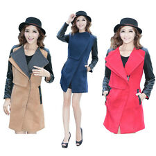 New Women's Long Wool Blend Big Collar Slim Fit PU Leather Coat Jackets Trench