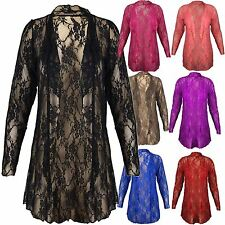 Womens Plus Size Waterfall Lace Cardigan Boyfriend Floral Lace Cardigan Top14-28
