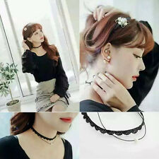 Fashion Women Girl Leather Beads Lace Multilayer Pearl Chocker Necklace Jewelry