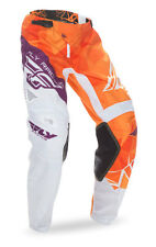 FLY RACING MX MTB BMX Kids 2017 Kinetic CRUX Pants (Orange/Purple) Choose Size