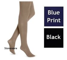 NWT Women's HUE Opaque Tights Color Stoneware Beige Blue Print Black Size 2 & 3