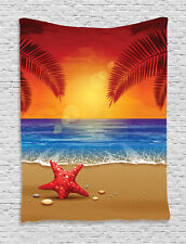 Sunset Cartoon Tropic Beach Starfish Palms Ocean Art Print Wall Hanging Tapestry