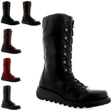 Womens Fly London Ster Mid Calf Winter Leather Wedge Heel Lace Up Boots UK 3-9