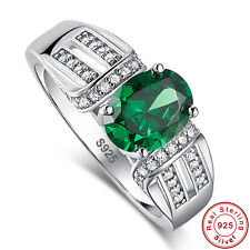 Oval Cut Emerald & White Topaz 100% Solid 925 Sterling Silver Rings Size 6 7 8 9