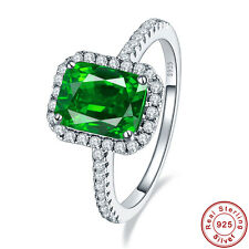 Emerald & White Topaz Filigree 100% 925 Solid Sterling Silver Rings Size 6 7 8 9