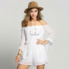 Sexy Women Off Shoulder Bandeau Playsuit Summer Beach Shorts Jumpsuit Mini ES9P