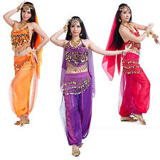 12 Colors Belly Dance Halloween Carnival Costume Veil+HeadChain+Top+Scarf+Pants