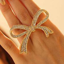 Adjustable Rings Crystal Big Bowknot Design Finger Ring Lady Jewelry Fashion