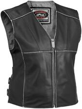 River Road Rambler Women's Street Riding Protection Leather Motorcycle Vest