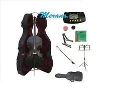 New 4/4-1/4 Size BLACK Cello,Case,Bag,Bow+Strings+2 Stands,Tuner,Rosin,Mute