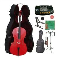 New 4/4-1/4 Size RED Cello,Case,Bag,Bow+Strings+2 Stands,Tuner,Rosin,Mute