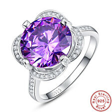 Round Cut Amethyst White Topaz 100% Solid 925 Sterling Silver Rings Size 6 7 8 9