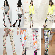 Lady's Retro Rose Flower Print Legging Trousers Pants Elasticity Thin Hot Style