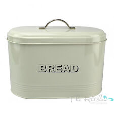 Bread Bin In Cream Large Vintage Shabby Chic Style Enamel Food Loaf Storage Tin