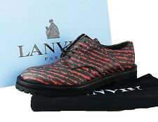 LANVIN BLACK & RED STRIPES 100% LEATHER SHOES THICK SOLE ITALY # 30 NEW BOX SZ 7