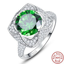 Emerald & White Topaz 6.5CT Jewelry 100% 925 Sterling Silver Rings Size 6 7 8 9