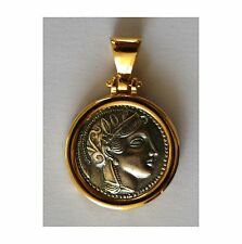 GODDESS ATHENA GREEK BIG COIN PENDANT 925 sterling silver gold plated CODE 3