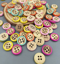 DIY 50/100X color frame 4 Holes Wood color Wood Buttons Sewing Scrapbooking 13mm