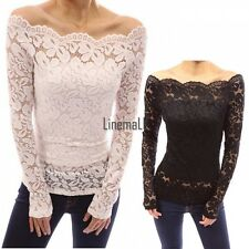 New Sexy Womens Lace Floral Hollow Clubwear Party Off Shoulder Tops Blouse LM