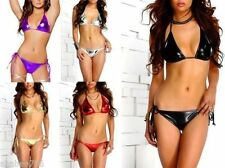 Lot Metallic Sexy Bikini Side tie Bottom Top Swimsuit Brazilian Rave XS S M L