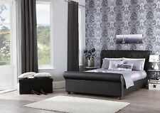 Sergi Modern Faux Leather Bed Sleigh Bed in Black - Double King Super King