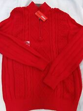 Mens IZOD Red  Zip Neck Cable Knit Winter Sweater NEW