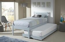 Agna Solid Wood Guest Bed With Trundle Shaker Style in Oak White Grey 3FT Single