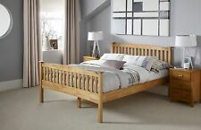Thea Solid Wood Bed Shaker Style in Oak or White - Single Double King Super King