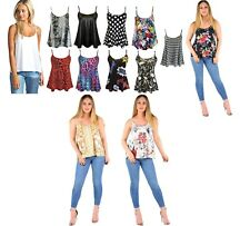 WOMENS SLEEVELESS STRAPPY WAIST LENGTH LADIES PRINTED CAMI VEST TOP