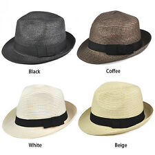 Straw Hat - Trilby Style Crushable Summer Sun Mens Ladies - Beige BEB
